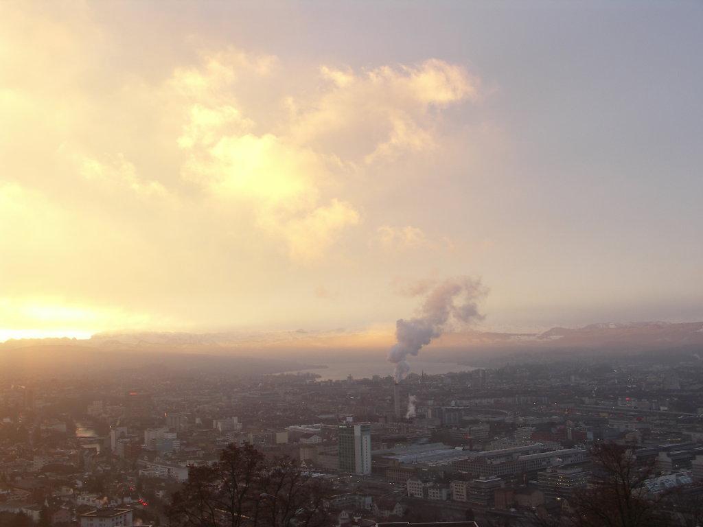 Zurich morning sun in august